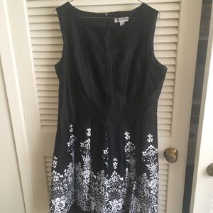 Black midi dress with white floral pattern!
